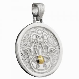 Medalla redonda con manito,detalle en double. 3,1 cm