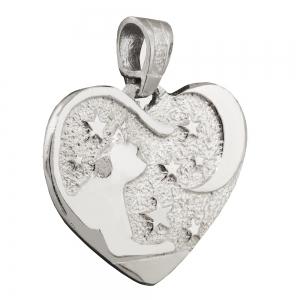 Medalla corazon, gato y luna