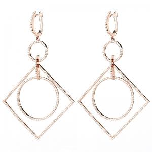 Par aros linea premium, colgantes, diseño rombo con doble circulo de piedras blancas, con movimiento, rosado.