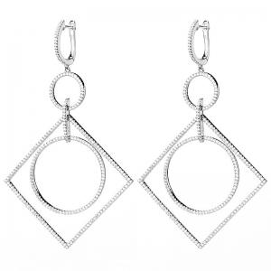 Par aros linea premium, colgantes, diseño rombo con doble circulo de piedras blancas, con movimiento, blanco
