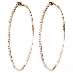 Par aros linea premium, argollas con piedras, grandes, de 9 cm aprox de diametro, rosadas