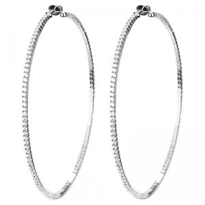 Par aros linea premium, argollas con piedras, grandes, de 9 cm aprox de diametro, blancas