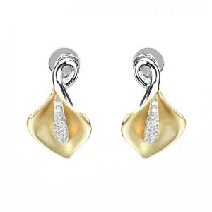 Par aros linea Premium, flor de Cala ,amarilla, con detalle de piedras, cierre mariposa