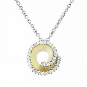 Conjunto linea premium, dije espiral amarillo con piedras, y cadena blanca