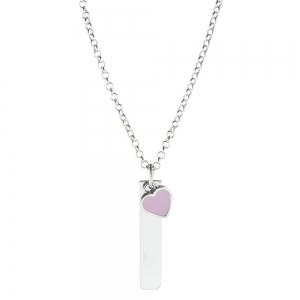 Conjunto barrita con corazon esmaltado rosa y cadenita rolo x 50 cm