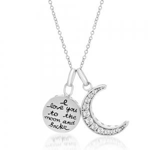 Conjunto medallita frase y luna piedras blancas
