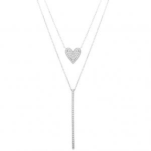Conjunto doble cadena, corazon y barrita pavee, blanco