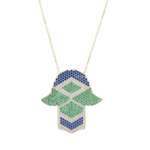 Conjunto manito pavee amarilla, con piedras azules, blancas y verdes