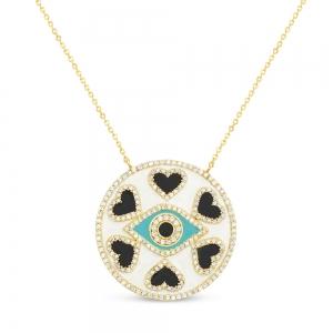 Conjunto amarillo, medalla, ojito turquesa y corazones negros con piedras