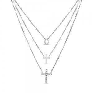 Conjunto triple, piedra con virola y doble cruz con y sin piedra