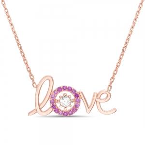 Conjunto love cursiva rosado con piedras , blanca y rosadas