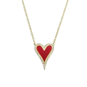Conjunto corazon amarillo, con piedras blancas y esmalte rojo