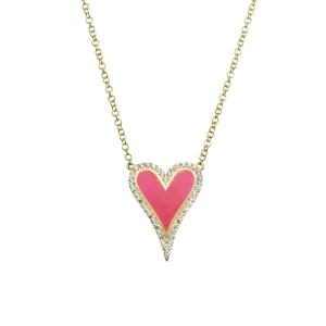Conjunto corazon amarillo, con piedras blancas y esmalte rosado