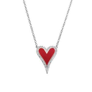 Conjunto corazon blanco, con piedras blancas y esmalte rojo