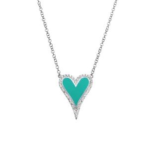 Conjunto corazon blanco, con piedras y esmalte turquesa
