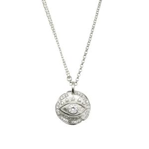 Conjunto medalla ojito, con doble cadena, blanco