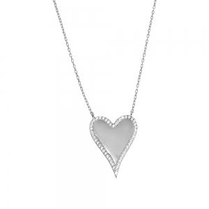 Conjunto corazon blanco con piedras