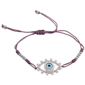 Pulsera ojito con piedras, blanca, hilo violeta, ajustable