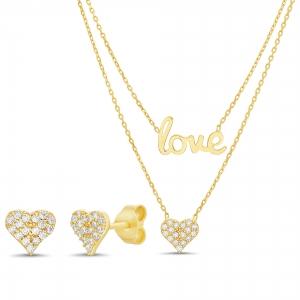 Conjunto doble, amarillo, love y corazon, mas par aros pavee corazon