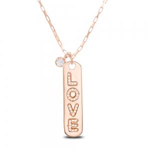 Conjunto barrita Love con piedra, rosado