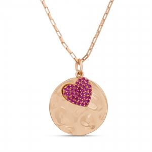 Conjunto medalla, con corazon pavee rosado