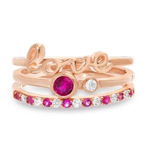 Anillo triple, rosado, Love , doble piedra, y medio sin fin  piedras rosadas y blancas
