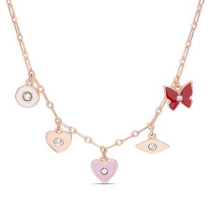 Conjunto rosado, con dijes esmaltados: mariposa, ojito, corazon