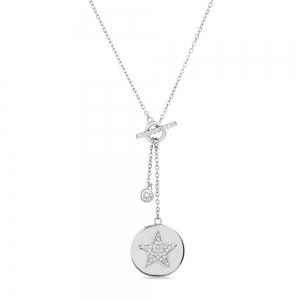Corbatero medallita con estrella pavee, y piedra colgante, blanco