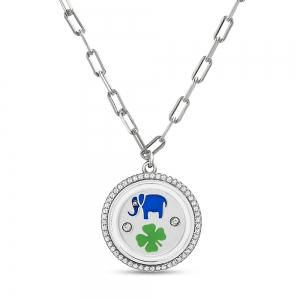 Conjunto medalla esmaltada, elefante, trebol, piedras blancas