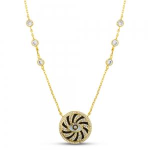 Conjunto medalla ojito amarillo, con esmalte negro y piedras blancas en cadena