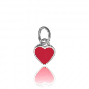 Colgante corazon chico 10 x 11 , esmaltado rojo