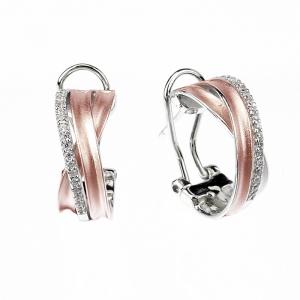 Par aros linea premium, doble tira cruzada, y una de piedras, cierre pasante y clip, blanco y rosado