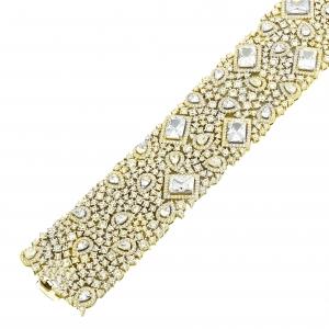 Pulsera linea premium, ancha, de piedras ovaladas, redondas y baguettes, amarilla, con cierre cajon