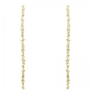 Par aros linea premium, colgantes, largos, de piedras baguettes y carre, amarillos