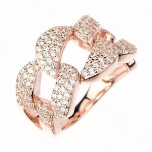 Anillo linea premium, tipo eslabonado, con piedras y movimiento, rosado