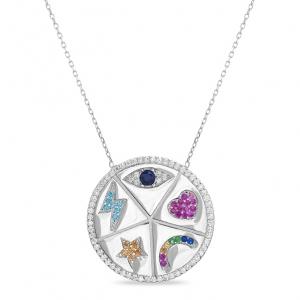 Conjunto medalla, simbolos, piedras de colores