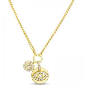 Conjunto medallita ojito con piedras, y circulo pavee, amarillo