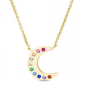 Conjunto luna amarilla con piedras multicolor