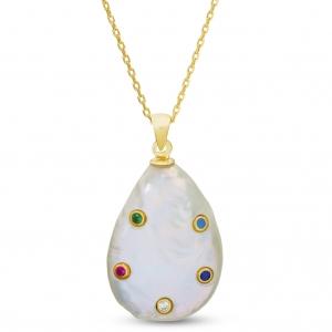 Conjunto perla con piedras multicolor, dorado