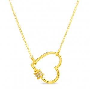 Conjunto corazon inclinado amarillo con detalle pavee