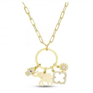 Conjunto circulo con dijes colgantes, manito, elefante, flor y nacar.Amarillo