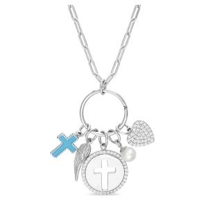Conjunto arandela con dijes colgantes, cruz esmaltada, alita, medalla cruz, perla y corazon pavee