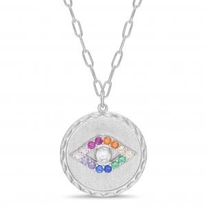 Conjunto medalla con ojito multicolor