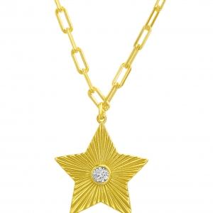 Conjunto estrella con piedra en el centro, amarillo