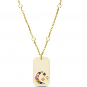 Conjunto medalla piedras mulicolor, cadena con bolitas. Amarillo