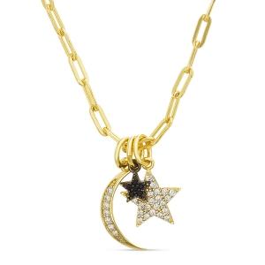 Conjunto luna y estrellas, piedras blancas y negras. Amarillo