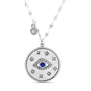 Conjunto medalla, ojito, piedra central azul, piedras blancas