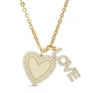Conjunto corazon virola de piedras, love, amarillo