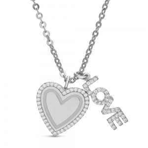 Conjunto corazon virola de piedras, love, blanco