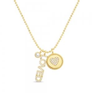 Conjunto cadena bolitas, piedra con virola, loved, medalla con corazon pavee, amarillo
